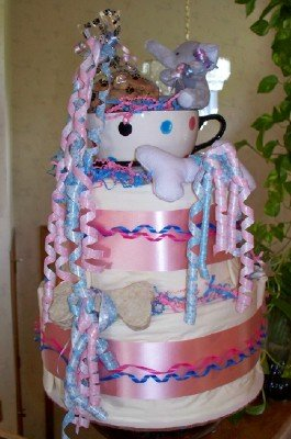 Pink Tea Cup Pup 2 Tier Puppy Shower Gift Cake