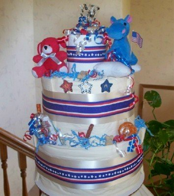 Patriotic Paws 2 Tier Patriotic Themed Puppy Shower Hostess Gift for Dog Lovers