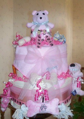 It's A Girl Puppy Shower Centerpiece Gift Cake
