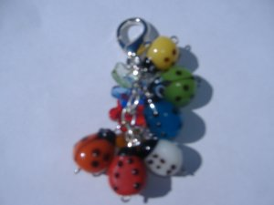 Ladybug and Flower Purse Bag Accent keychain-Glass Bead