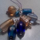 Blue and Brown Bead Charm Cell Phone Strap Zipper Pull