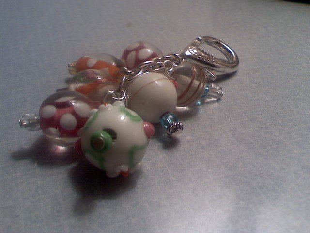 PASTEL TWISTED STRIPE GLASS BEAD Purse Accent keychain