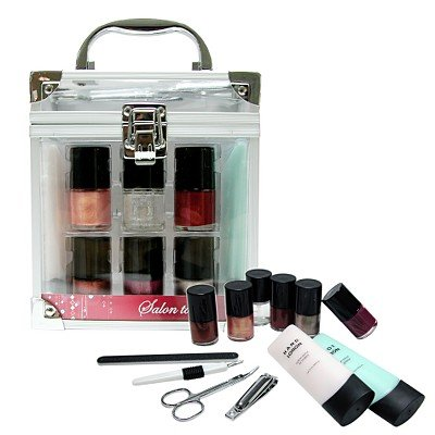Hand & nail gift set kit with clear train case