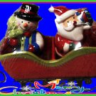 3PC Christmas Santa Claus & Snowman Salt & Pepper Shaker Set  sled included NEW