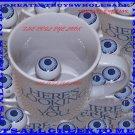 Vintage GREEK EVIL EYE  HERE'S LOOKING AT YOU Eyeball  Coffee Mug Cup NEW IN BOX