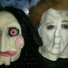 "HALLOWEEN MICHAEL MYERS OR  SAW 5"" JIGSAW BILLY PUPPET HANGING LATEX HEADS NW"