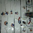 4th of July USA American Flag Patriotic Jewelery Star/ Heart/ Necklace/pins/MANY