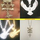 ELVIS STYLE EAGLE OR GUITAR OR SKULL STYLE  PENDANT SILVER OR GOLDTONE NECKLACES