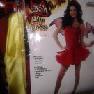 sexy devil slip dress w/sparkles costume womans fits up 2 14/16 new w/crinoline