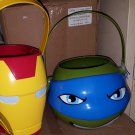 New Iron Man Candy Pail Marvel Comics Halloween OR TMNT Leo Figural Plastic Pail