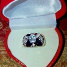 Oval BAQUETTE PRINCESS WIDE BAND RING 18KT H.G.E. CZ  /W HEART BOX  SZ  7   #40