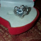 ROUND FLOWER PRINCESS 18KT H.G.E. CZ RING  W/HEART SHAPE GIFT BOX SZ 6.5   #34