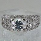 ROUND TOWER  PRINCESS 18KT H.G.E. CZ RING  W/HEART SHAPE GIFT BOX SZ 7    #06
