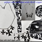 BLACK&SILVER TONE GOTHIC/ RELIGIOUS/BIKER MULTESE CROSS cluster NECKLACE w/pouch