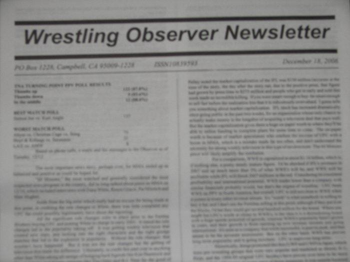 Wrestling Observer 1/1/07 WWE TNA UFC ROH CMLL NOAH ECW