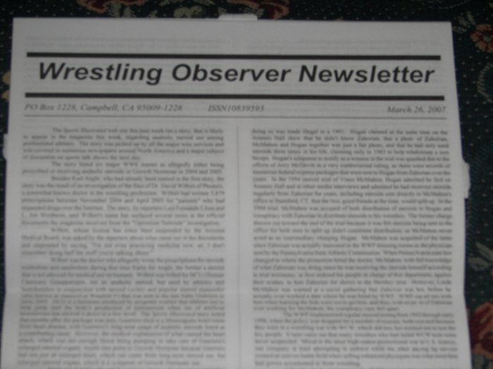 Wrestling Observer 1/15/07 WWE TNA UFC ROH K1 show Ring of Honor