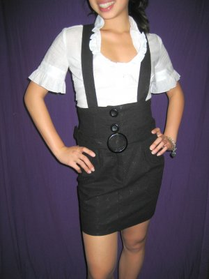 FOREVER 21 Black High waisted skirt w suspenders - S