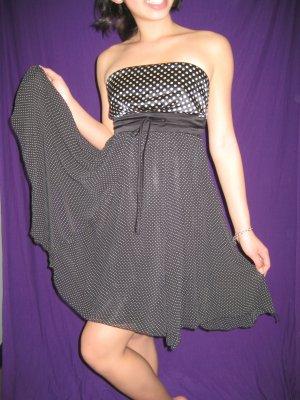FOREVER 21 Black & White Strapless Chiffon Polka Dot Baby Doll Dress - S