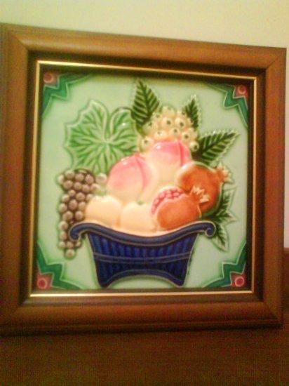Antique Tile - Basket of Fruits