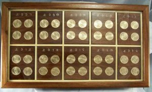 U.S Mint  Presidental One Dollar coin display
