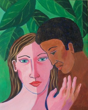 Man and Woman in Green Leaves