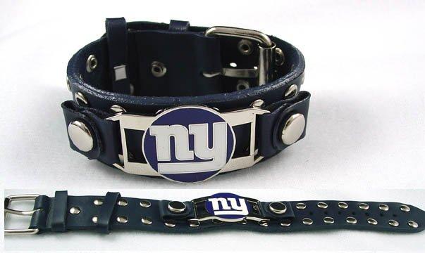 New York Giants Italian Leather Cuff Logo Bracelet