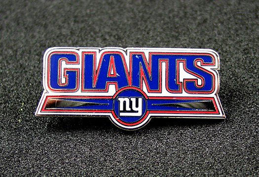 New York Giants Silvertone & Enamel Name Style Logo Pin