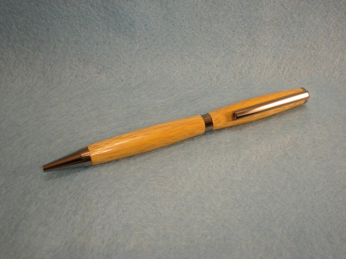 Hand Crafted Canary Wood Slimline Pen w/Black Titanium Plating