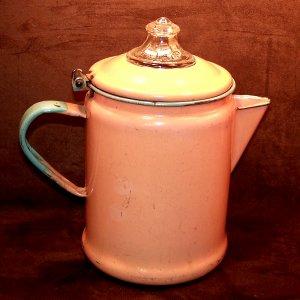 Unusual Vintage Enamelware Coffee Pot