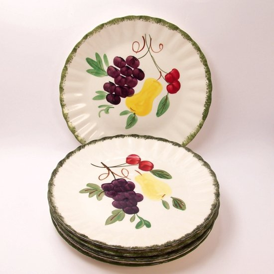 6 Blue Ridge Southern Pottery Fruit Fantasy Luncheon Plate, Fine China