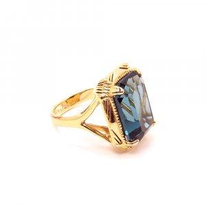 Stunning Blue Emerald Cut Ring Costume Jewelry