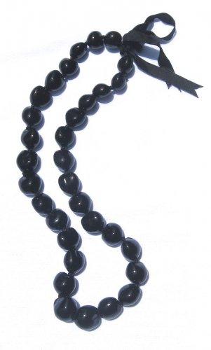 "Hawaiian Jewelry Kukui Nut Black Ribbon Lei Necklace Adjustable 32"""