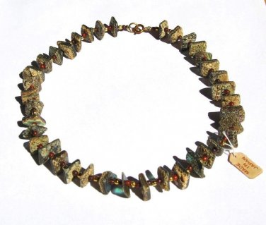 """Vintage Hawaii Design Chunky Squares Abalone Shell Necklace 15"""""""