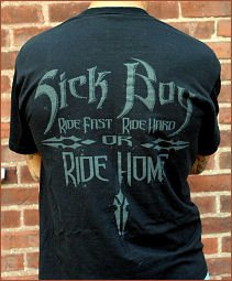 Sick Boy Motorcycles Mens Biker Tee ~Ride Fast Ride Hard or Ride HOME~L