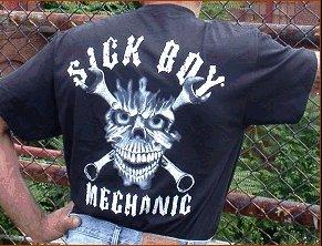 "SickBoy Motorcycles ""SICK BOY MECHANIC BIKER T - Short Sleeve - XL"