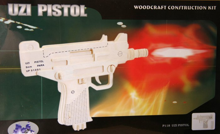 3D Wooden UZI PISTOL PUZZLE - Challenging, Educational and Creative Woodcraft Model Puzzle