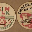 8 VINTAGE UNUSED HOOD DAIRY PAPER MILK CAPS 1940s 1950s