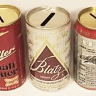 3 BLATZ MILLER MALT LIQUOR 150TH MILLER BEER CAN BANKS