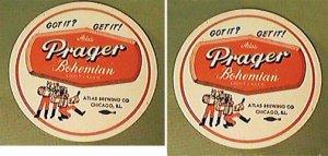 2 ATLAS PRAGER BOHEMIAN LIGHT LAGER BEER COASTERS GOT IT? GET IT!