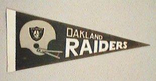 "OAKLAND RAIDERS MINI NFL FOOTBALL PENNANT 8-3/4"" long"