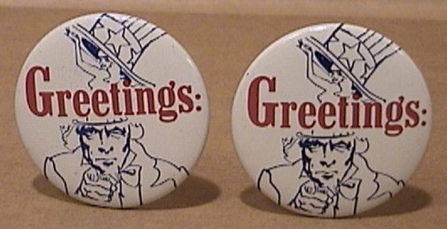 LOT 2 GREETINGS UNCLE SAM PINS 1970s STRIP CLUB ADVERTISING BUTTONS