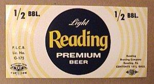 READING LIGHT PREMIUM 1/2 BBL BARREL BEER LABEL UNUSED 1960s UNION STAMP