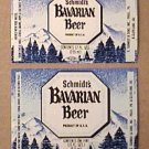 2 SCHMIDTS BAVARIAN BEER BOTTLE LABELS 6 & 12 oz CHRISTIAN SCMIDT BREWING 1970s