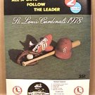 ST LOUIS CARDINALS 1978 BASEBALL SCORECARD UNSCORED CINCINNATI vs CARDINALS
