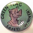 PIN NEWSPAPER COMIC MORT WALKER GREEN FLAG SAFETY WINNER BUTTON BEETLE BAILEY