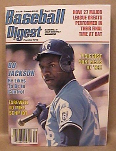 BASEBALL DIGEST BO JACKSON COVER SEPTEMBER 1989