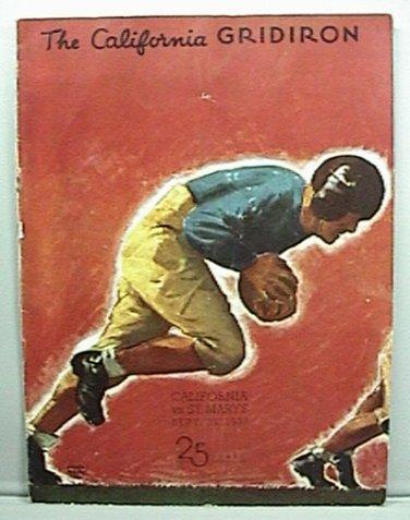 1937 FOOTBALL GAME PROGRAM UNIVERSITY CALIFORNIA vs ST MARYS SEPT 25 NICE