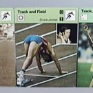 1977 SPORTSCASTER 3 TRACK FIELD CARDS RAFER JOHNSON BRUCE JENNER DECATHLON SCORE