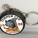 CHICAGO WOLVES TURNER CUP CHAMPIONS 1998 SOUVENIR MINI HOCKEY PUCK KEYCHAIN RING