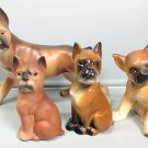 VINTAGE BOXER DOG 4 CERAMIC & PORCELAIN FIGURES JAPAN 1960s STATUES